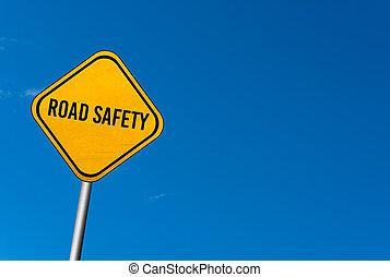- , σήμα , δρόμοs , βάφω κίτρινο κλίμα , ασφάλεια , μπλε