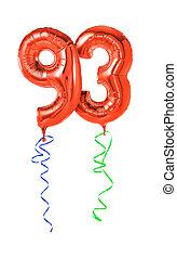 -, номер, красный, 93, balloons, лента
