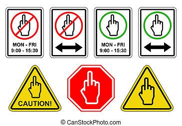 -, палец, коллекция, знак