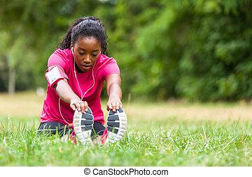 -, אנשים, כושר גופני, ג'וגר, סגנון חיים, אישה אמריקאית, אפריקני, למתוח, בריא