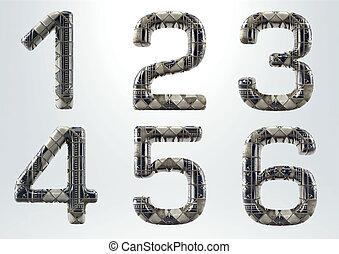 -, קרמי, render, 3d, קבע, 6, 1, אלפבית, מספר