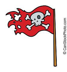 -, とても, 旗, ベクトル, roger, 赤
