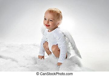 -, わずかしか, かわいい, 男の子, cloesup, 肖像画, 天使