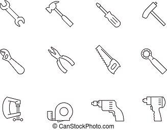 -, アウトライン, 手, アイコン, 道具