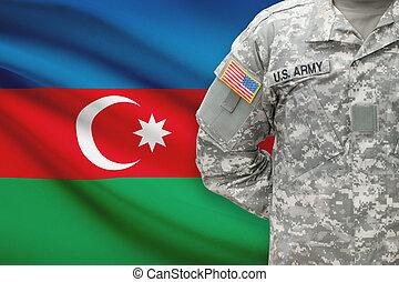 -, アメリカ人, アゼルバイジャン, 兵士, 旗, 背景
