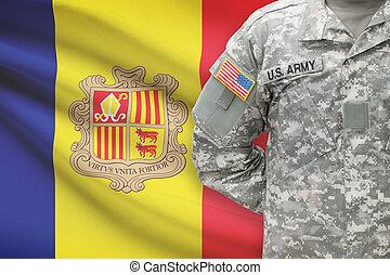 -, アメリカ人, アンドラ, 兵士, 旗, 背景