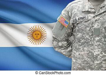 -, アメリカ人, 兵士, 旗, 背景, アルゼンチン