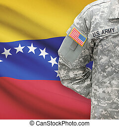 -, アメリカ人, 兵士, 旗, 背景, ベネズエラ