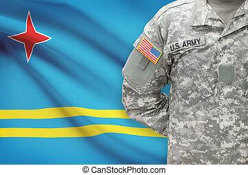 -, アメリカ人, 兵士, 旗, aruba, 背景