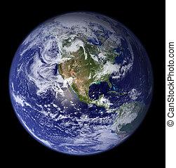 -, アメリカ, 北, 地球, スペース
