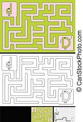 -, アルファベット文字, d, 迷路, 容易である