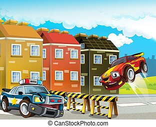 -, イラスト, オフロードで, ブロック, 警察, 子供, 漫画, 追跡, 自動車