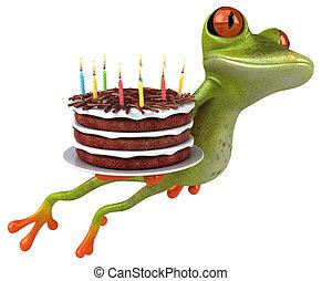 -, イラスト, 楽しみ, birthday, カエル, ケーキ, 3d