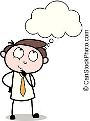 -, オフィス, ベクトル, 従業員, 考え, 漫画, イラスト, ビジネスマン