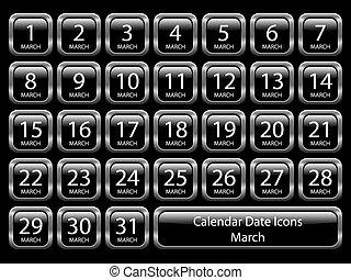 -, カレンダー, セット, 3月, アイコン