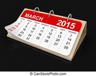 -, カレンダー, 3月, 2015