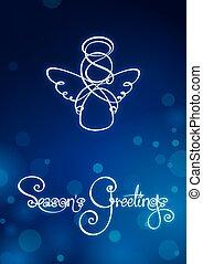 -, カード, 天使, 挨拶, 季節