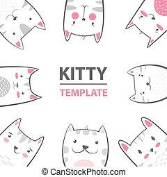 -, キティ, template., 特徴, ねこ, 漫画