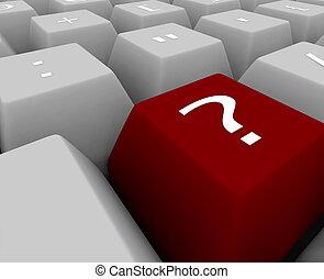 -, キーボード, 質問, キー, 印