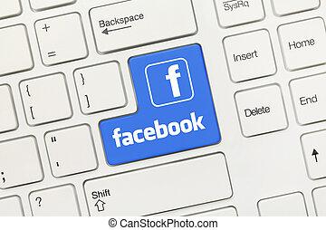 -, キー, logotype), facebook, (blue, 概念, 白, キーボード