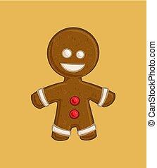 -, クリスマス, gingerbread の 人, 漫画, アイコン