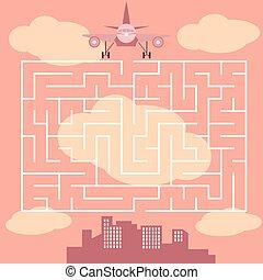 -, ゲーム, ベクトル, 迷路, 飛行機, 子供