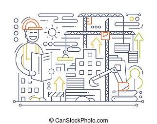 -, サイト, 建設, デザイン, 線, 構成