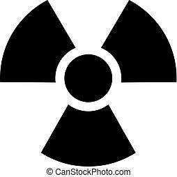 -, シンボル, bw, 放射性, アイコン