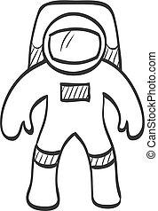 -, スケッチ, 宇宙飛行士, アイコン