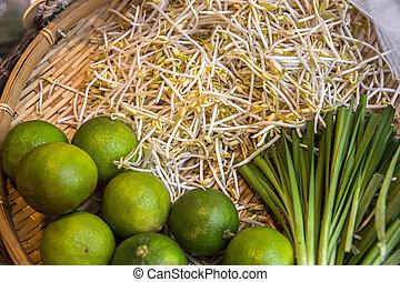 -, スペース, 市場, 農夫, 野菜, フルーツ, 小売り, 市場