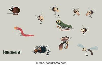 -, セット, くも, 漫画, てんとう虫, 蜂, キャタピラー, みみず, 昆虫, illustrations., ベクトル, 蝶, dragonfly.