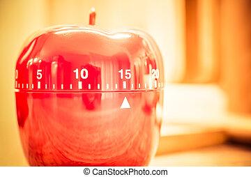 -, タイマー, 分, 明るい, 台所, 15, 雰囲気, 赤, 卵
