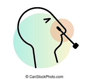 -, テスト, nasopharyngeal, 鼻, 綿棒, アイコン