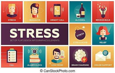 -, デザイン, ストレス, 線, 仕事, アイコン, セット