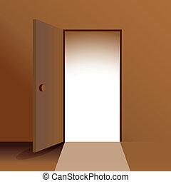 -, ドア, イラスト, 開いた