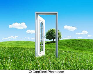 -, ドア, コレクション, 成功, 自然