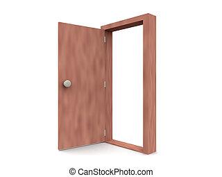 -, ドア, 漫画, 開いた