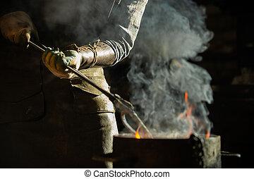 -, バケツ, 鍛冶屋, 燃焼, パッティング, 項目, 到来, 水, 蒸気, から