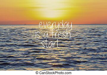 -, バックグラウンド。, 日没, インスピレーションを与える, 新規まき直し, 毎日, 引用, 生活