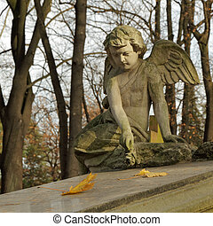 -, バラ, gravestone, 天使