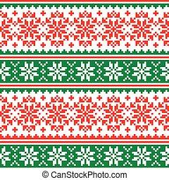 -, パターン, ベクトル, knnitting, デザイン, クリスマス, 赤, 雪片, seamless, 十字ステッチ, 緑, スカンジナビア人