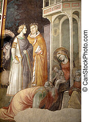 -, フィレンツェ, croce:, baroncelli, chapel., 生活, santa, 新しい, フレスコ画