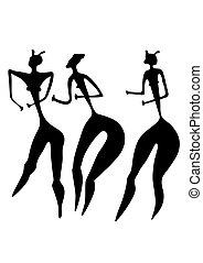 -, プリミティブ, 芸術, 3人の女性たち
