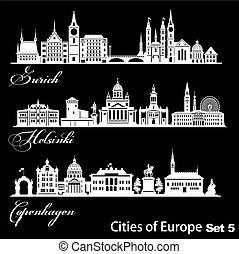 -, ベクトル, ヨーロッパ, ヘルシンキ, 詳しい, architecture., illustration., copenhagen., 都市, 最新流行である, チューリッヒ