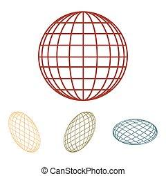 -, ベクトル, 地球, アイコン, 効果, 等大, set., 地球