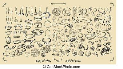 -, ベクトル, 大きい, セット, 食物, 台所