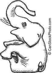 -, ベクトル, 簡単にされている, 象, モノクローム, 図画