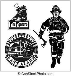 -, ベクトル, 紋章, 消防士, 火, セット, 部門, elements., s, バッジ