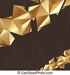 -, ベクトル, 金, 黒, 板, 背景, 三角, 抽象的, 要素, 木