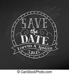 -, ベクトル, 黒板, 結婚式, 日付, を除けば, カード